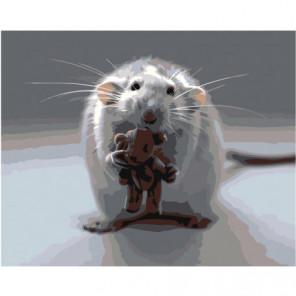 Мышонок с мишкой 80х100 Раскраска картина по номерам на холсте