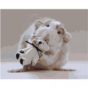 Мышонок с белым мишкой Раскраска картина по номерам на холсте