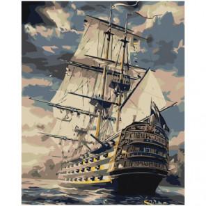 Величественный корабль фрегат 80х100 Раскраска картина по номерам на холсте