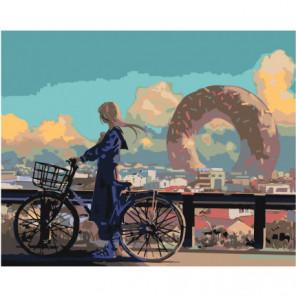 Девушка на велосипеде 100х125 Раскраска картина по номерам на холсте