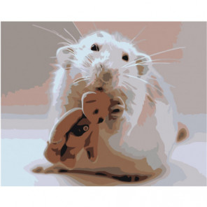 Белый мышонок и мишка 100х125 Раскраска картина по номерам на холсте
