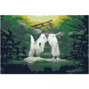 Водопад и домики 80х120 Раскраска картина по номерам на холсте