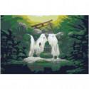 Водопад и домики Раскраска картина по номерам на холсте