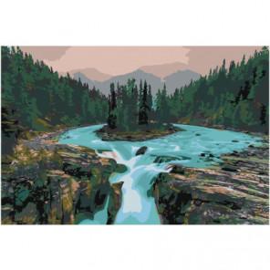 Водопад Sunwapta falls Канада 100х150 Раскраска картина по номерам на холсте