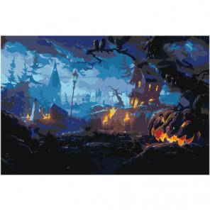 Пейзаж хэллоуин 80х120 Раскраска картина по номерам на холсте