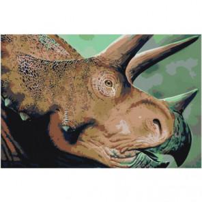 Голова динозавра трицератопса Раскраска картина по номерам на холсте