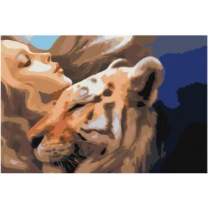 Девушка с тигром 80х120 Раскраска картина по номерам на холсте