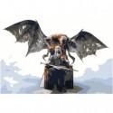 Ведьмак на троне Раскраска картина по номерам на холсте