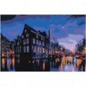 Вечерний Амстердам 100х150 Раскраска картина по номерам на холсте