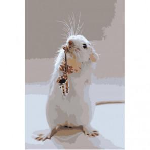 Мышонок саксофонист 100х150 Раскраска картина по номерам на холсте