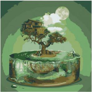 Абстракция, дерево, бонсай, луна 80х80 Раскраска картина по номерам на холсте