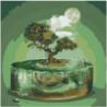 Абстракция, дерево, бонсай, луна Раскраска картина по номерам на холсте