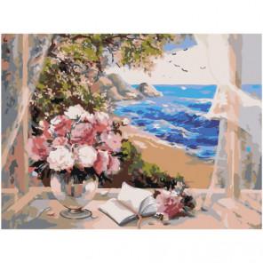 Букет в вазе на окне у берега моря 75х100 Раскраска картина по номерам на холсте
