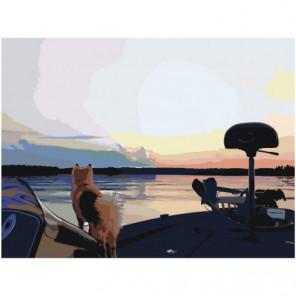 Собака. Закат. Озеро. 75х100 Раскраска картина по номерам на холсте