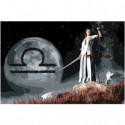 Знак зодиака Весы на фоне луны Раскраска картина по номерам на холсте