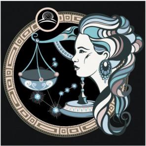 Знак зодиака Весы и девушка 80х80 Раскраска картина по номерам на холсте