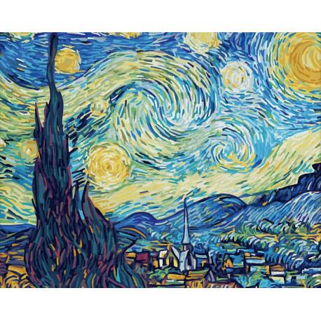 9130816 Звездная ночь. Винсент Ван Гог Раскраска картина ...