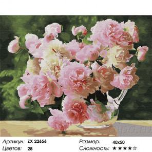 Сложность и количество цветов Нежнейший букет пионов Раскраска картина по номерам на холсте ZX 22656