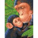 Шимпанзе с детенышем Раскраска (картина) по номерам акриловыми красками Dimensions
