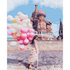 Девушка с шарами. Москва Раскраска картина по номерам на холсте