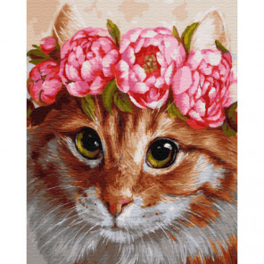 Рыжий кот в венке Раскраска картина по номерам на холсте