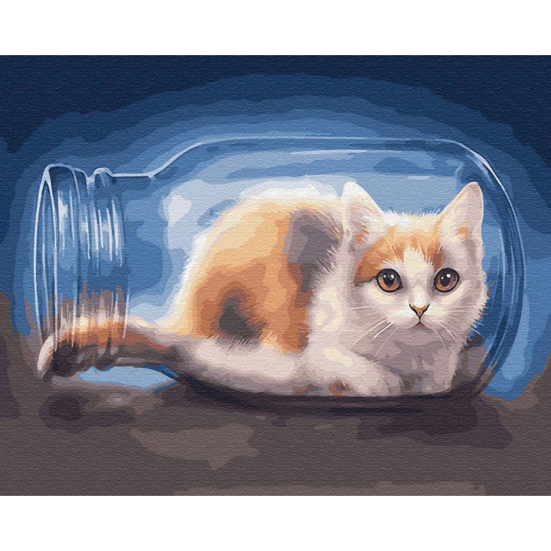 Кот в банке Раскраска картина по номерам на холсте ZX ...