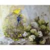 Птички на клетке Раскраска картина по номерам на холсте