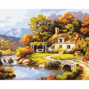Осенний домик Раскраска картина по номерам на холсте