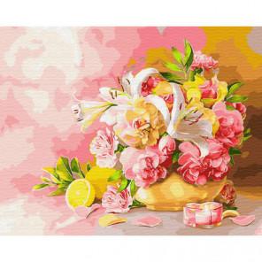 Букет лилии и лимоны Раскраска картина по номерам на холсте