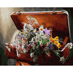 Чемодан с цветами Раскраска картина по номерам на холсте