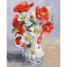 Маки и ромашки в кувшине Раскраска картина по номерам на холсте