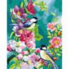 Птички на цветах Раскраска картина по номерам на холсте