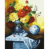 Желто-красные розы в вазе Раскраска картина по номерам на холсте