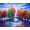 Разноцветные деревья Раскраска картина по номерам на холсте