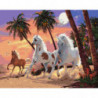 Лошади у пальм Раскраска картина по номерам на холсте