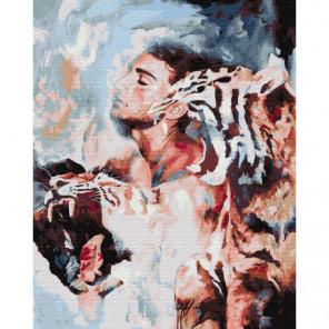 Мужчина и тигры Раскраска картина по номерам на холсте