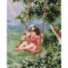 Малышка на качели Раскраска картина по номерам на холсте