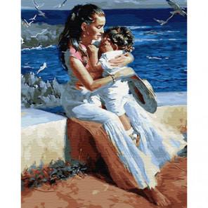 Мама с ребенком у моря Раскраска картина по номерам на холсте