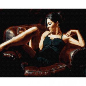 Девушка в кресле Раскраска картина по номерам на холсте