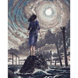 Девушка на камне Раскраска картина по номерам на холсте