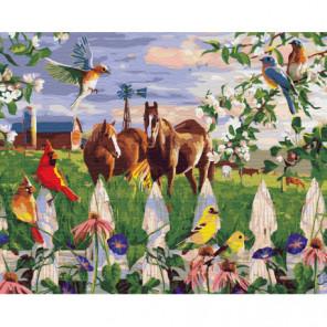 Лошади и птицы Раскраска картина по номерам на холсте