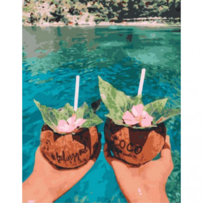 Кокосовые напитки Раскраска картина по номерам на холсте