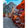 Городок у скалы Раскраска картина по номерам на холсте