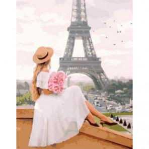 Девушка в шляпке с букетом роз Раскраска картина по номерам на холсте
