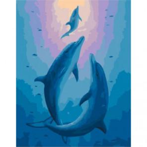 Дельфины под водой Раскраска картина по номерам на холсте