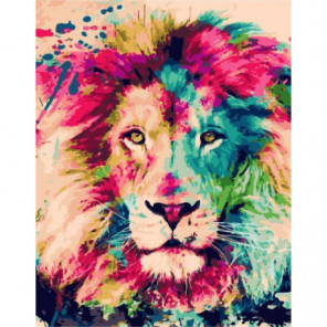 Лев в красках Раскраска картина по номерам на холсте