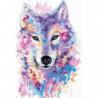 Портрет разноцветного волка Раскраска картина по номерам на холсте
