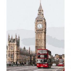 Красные автобусы Лондона Раскраска картина по номерам на холсте