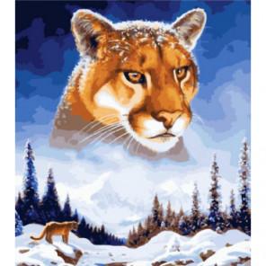 Снежная пума Раскраска картина по номерам на холсте