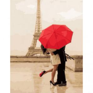 Влюбленные под зонтом Раскраска картина по номерам на холсте